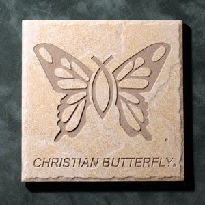 """Christian Butterfly""® Etched Tile"